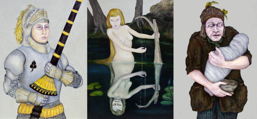 """Left to right: Images for the 9 of Clubs, """"Galahad,"""" 5 of Hearts, """"Fata Morgana,"""" and the 3 of Spades, """"The Beggar."""""""